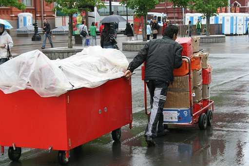 Vendor, Cart, Red, Covered, Pulling And Pushing
