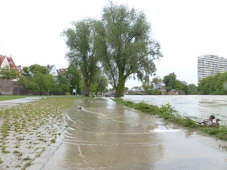 High Water, Danube, Ulm, Road, River Floodplain