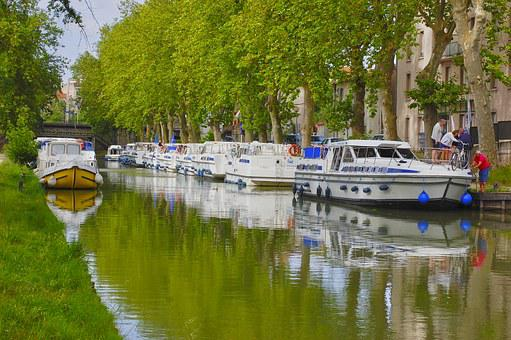 France, Carcassonne, River, Yacht Charter, Boats