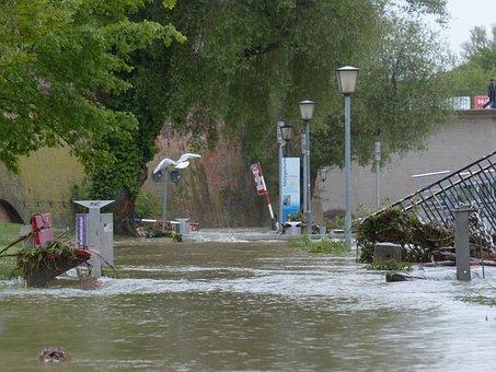 High Water, Danube, Ulm, Disaster, Destruction, Road