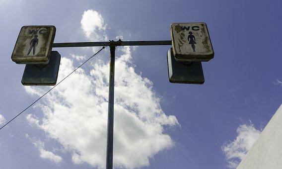 Totem, Wc, Toilet, Urban, Clouds, Public, Sanitary