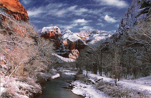 Virgin River, Zion National Park, Rock, Utah, Usa