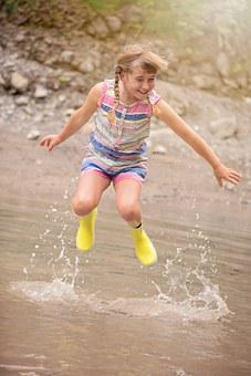 Person, Human, Child, Girl, Water, Bach, Jump, Fun, Wet