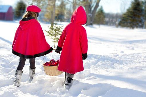 Christmas Girls, Girls, Snowy, Snow, Decorating, Winter