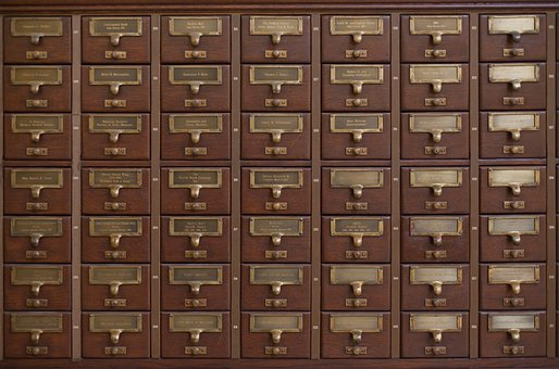 Card Catalog, Drawers, Wood, Brass, Detail, Aged