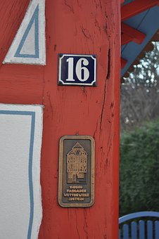 Building, Red, Close-up, Macro, Wood, Wooden, Plaque