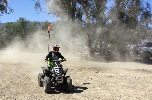 Atv, Quad, Motocross, Motorsports, Rider, Youth, Dust