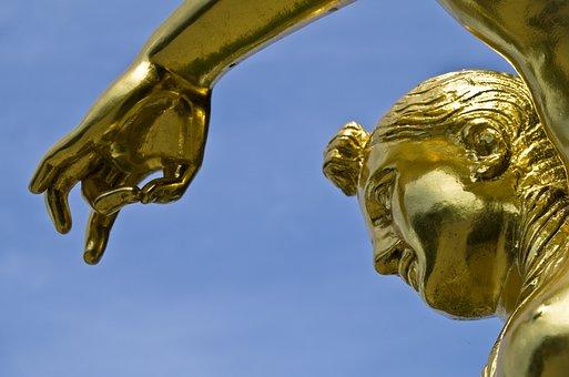 Statue, Antiquity, Hanover, Herrenhäuser Gardens, Gold