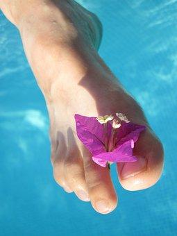 Barefoot, Blossom, Care, Female, Flower, Foot, Girl