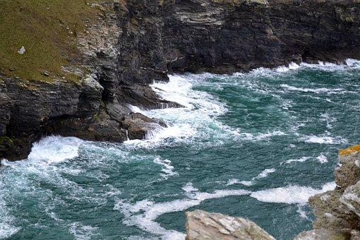 Tintagel Castle, King Arthur, Sea, Coast, Cliff, Waves