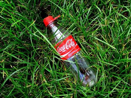Coca Cola, Lemonade, Bottle, Empty, Red, Grass, Cola