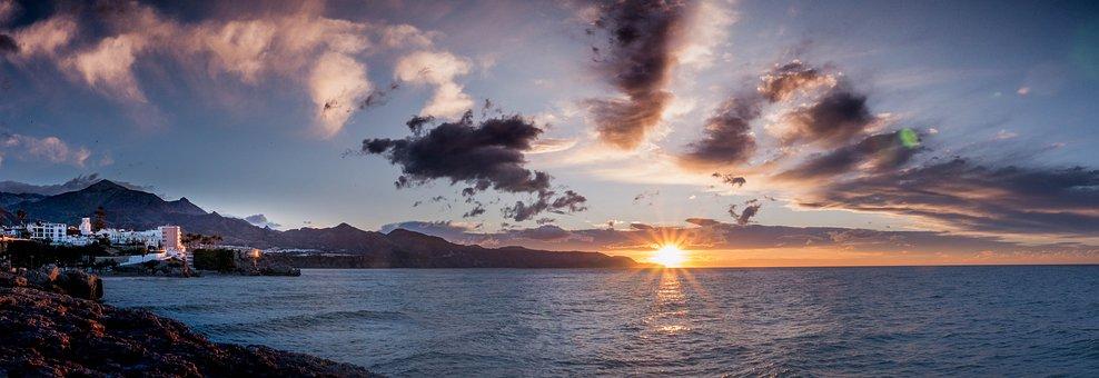 Dawn, Nerja, Malaga, Andalusia, Spain, Sky