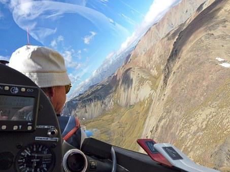 Glider, Mountains, View, Cockpit, Pilot, Landscape