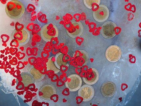 Heart, Coins, Euros, Frozen, Ice, Money, Wedding Gift