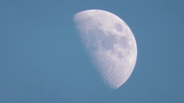 Moon, Moon By Day, Lunar, Earth's Natural Satellite