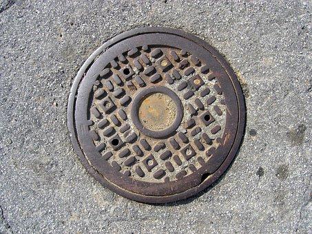 Manhole, Street, Asphalt, Cast, Iron, Sewer, Metal