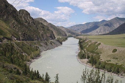 Altai, Katun, Mountain River, Mountains, Height
