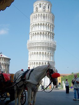 Pisa, Leaning Tower, Italy, Horse, Horse And Cart