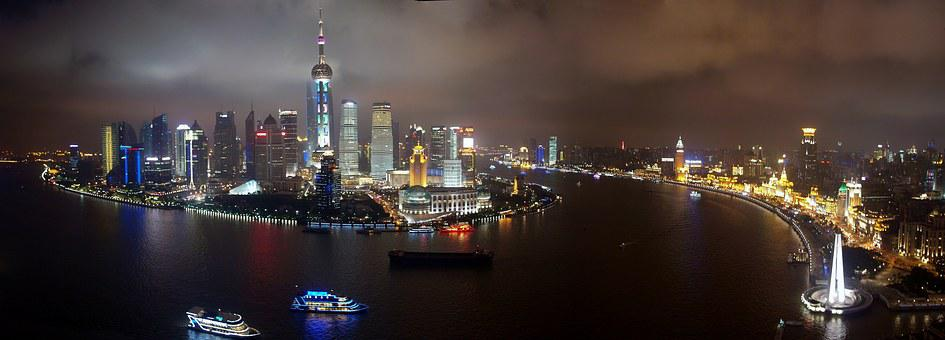 Shanghai, Pudong, Skyline, China, Modern, Panorama