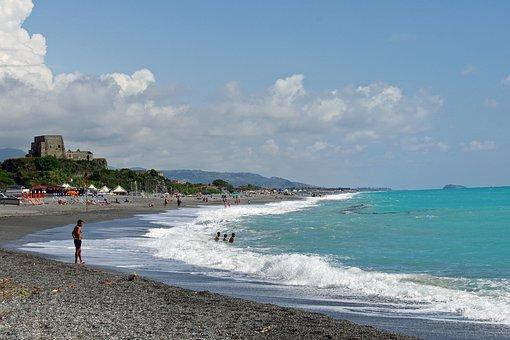 Scalea, Calabria, Italy, Sea, Beach, Landscape, Horizon