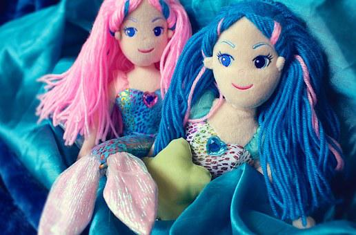 Mermaid, Sea, Toy, Doll, Girl, Marine, Young, Colorful