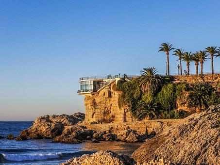 Nerja, Balcón De Europa, Palms, Walk, Dawn, Stone, Sea
