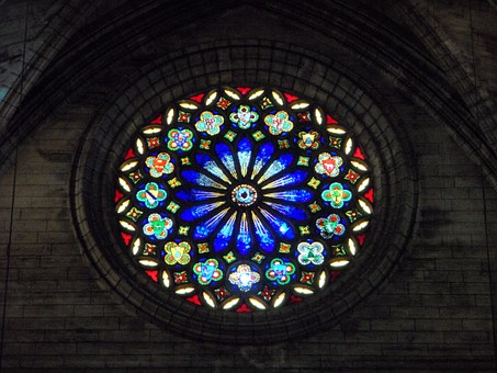 Rosette, Church Window, Stained Glass, Color, Pattern