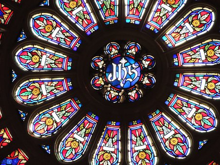 Rosette, Stained Glass Window, Church, Cathedral