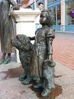 Szeged Hungary, Little Girl, Statue, Girl With Dog