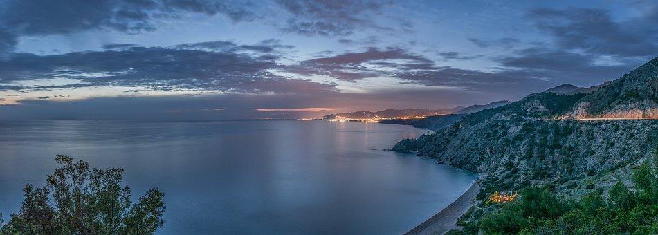 Sunset, Nerja, Malaga, Andalusia, Spain, Sun, Sea