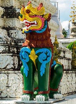Stone Figure, Sculpture, Lion, Temple Complex, Temple