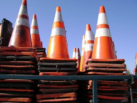 Traffic, Cones, Road, Warning, Safety, Construction