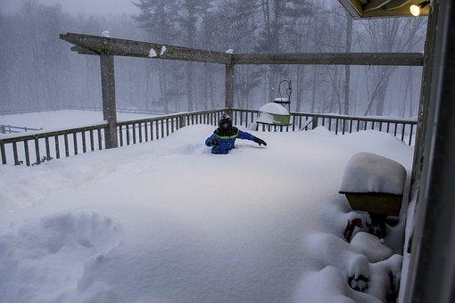 Snow, Drift, Deep, Winter, Boy, Stuck