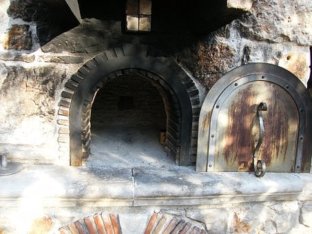 Wood Burning Stove, Oven, Bread, Bake, Old, Bricked