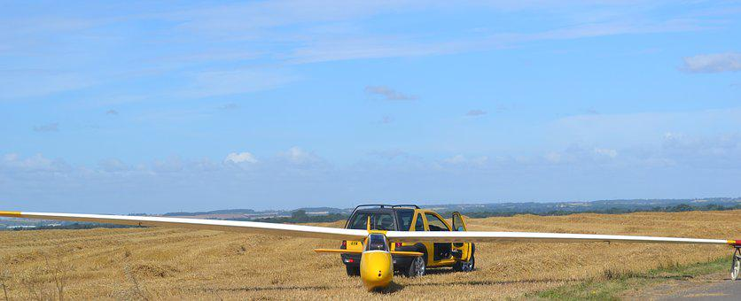Glider, Sailplane, Airfield, Vehicle, Wing, Yellow