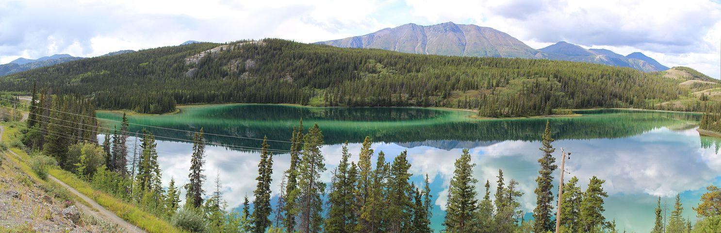 Emerald Lake, Yukon, Carcross, Panoramic Image, Lake