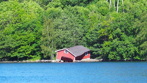 Norway, Boathouse, Fjord, Old, Ruined, Boulder, Lake