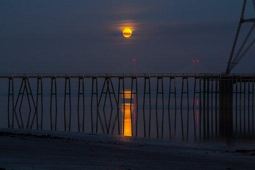 Bristol, Severn River, Month, Night, Reflection