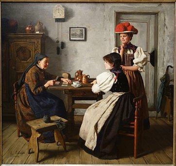 At The Fortune Teller's, Alma Erdmann, Canvas, Oil