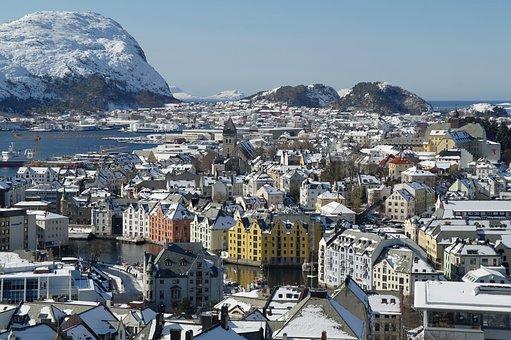 Norway, ålesund Norway, Hurtigruten, City View, Winter