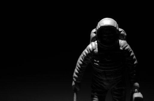 Astronaut, Chiaroscuro, Contrast, Black And White