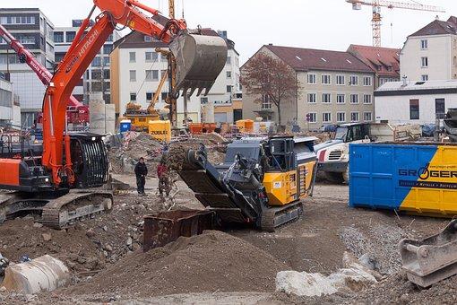Site, Excavators, Conveyor Belt, Preparation, Crane