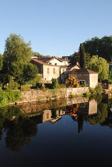 French Village, Confolens, River View, Houses On Water
