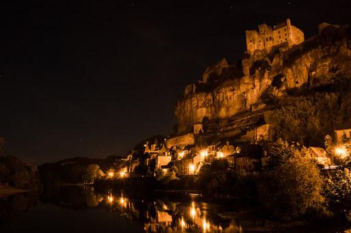Beynac, Dordogne, Night, Village, Lights, Yellow