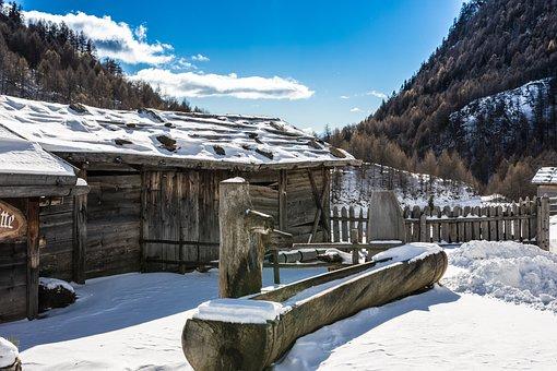 South Tyrol, Almen Village, Mountain Hut, Winter