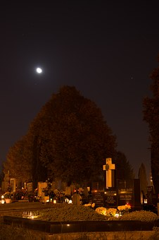 Cemetery, Candles, Night, Dark, Dead, The Tomb Of