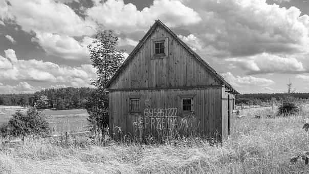 Old Barn, Home, Ratty, Old, Old Building, Sky, Clouds