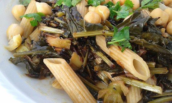 Pasta, Macaroni, Chickpeas, Parsley, Chicory, Cook, Eat
