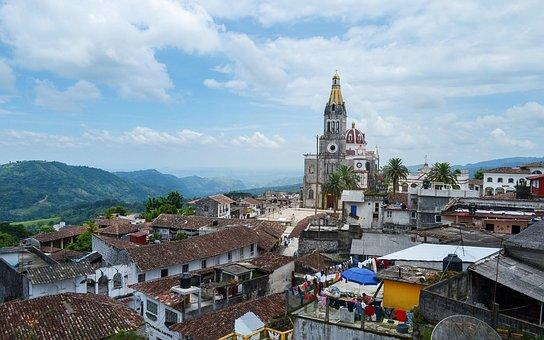 Mexico, Puebla, Cuetzalan, Pueblo, Paisaje, Iglesia