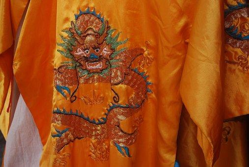 Robe, Embroidery, Embroider, Silk, Needlecraft, Yellow